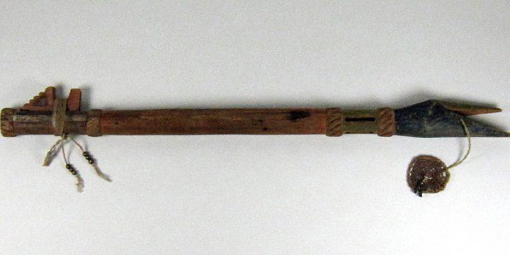 John Colhoff, Lakota (Sioux) Courting Flute (crane), cedar, cotton cord, brass beads,  hide thong & mesh, polychrome, 1918