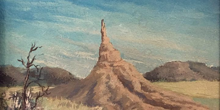 Keith Fay, Chimney Rock (Nebraska), oil on board, n.d.