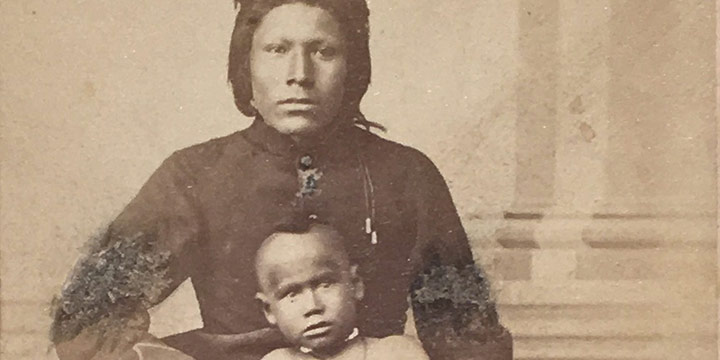 William Henry Jackson, Pawnee John (with young boy), carte de visite, c. 1865-1868