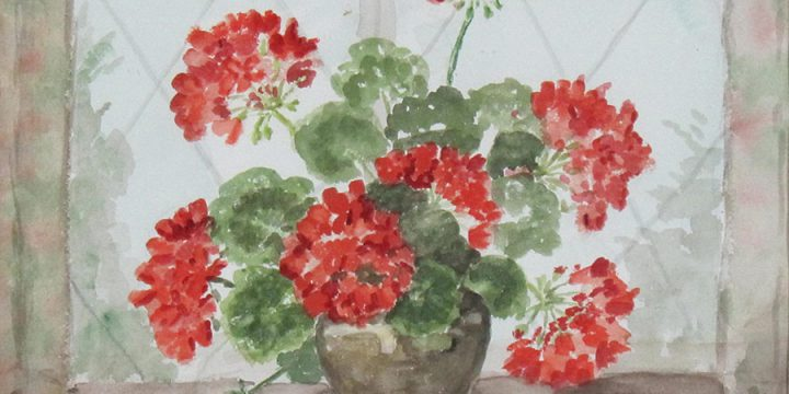 Miriam Warlock, Untitled (geraniums), watercolor, n.d.