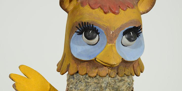 Bil Baird, Untitled (owl puppet), wood, fabric, n.d.