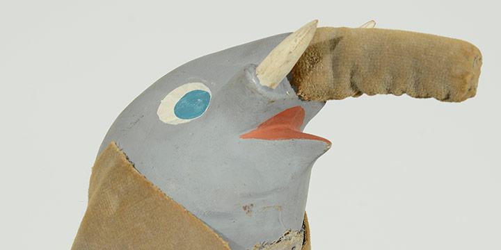 Bil Baird, Untitled (elephant puppet #1), wood, fabric, fiberglass, cardboard, foil, brass, paint, n.d.