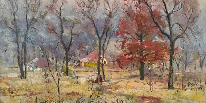 Augustus W. Dunbier, Winter's Onset, oil on canvas, 1925