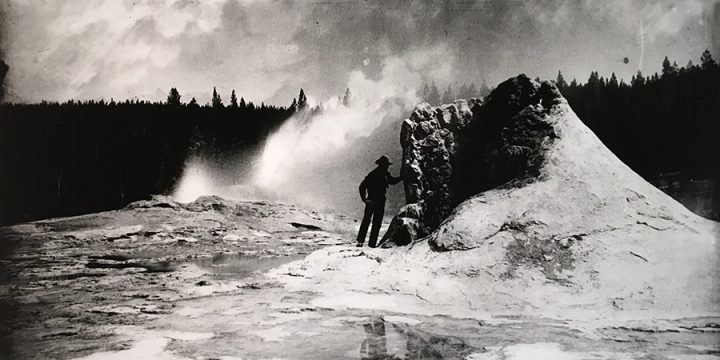 William Henry Jackson, Yellowstone, Crater of the Giant Geyser, black & white photograph (from an image in the Nebraska State Historical Society Collection?)