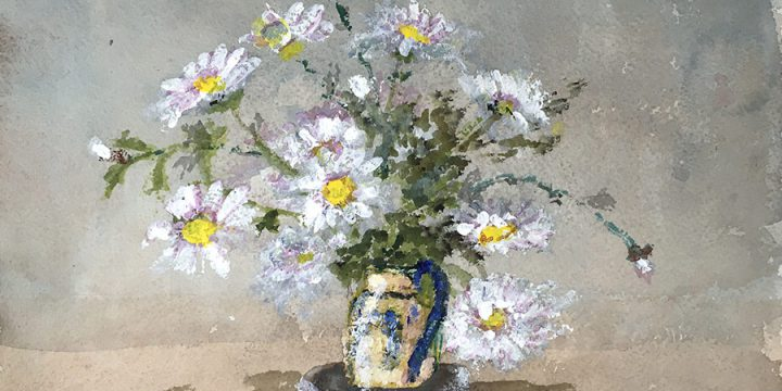 Miriam Worlock, Untitled (pitcher with daisies), watercolor, n.d.