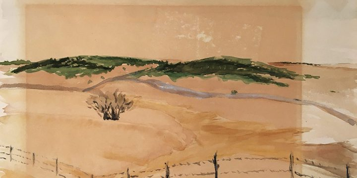 Miriam Worlock, Untitled (sandhills), watercolor, 1961