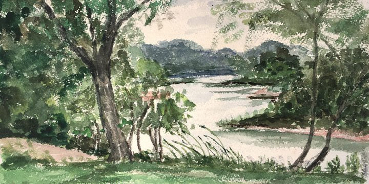 Miriam Worlock, Lynn's Lake, watercolor, 1975