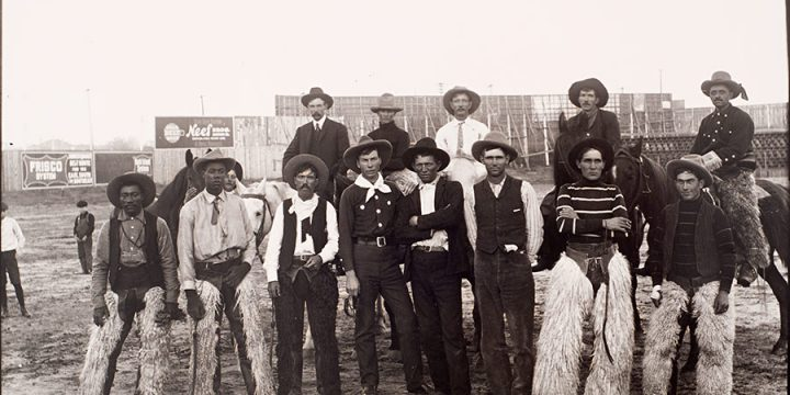 Solomon D. Butcher, Cowboys in Denver, Colorado, 1901, black & white photograph (from glass plate negative in the Nebraska State Historical Society Collection) c. 1982-1984