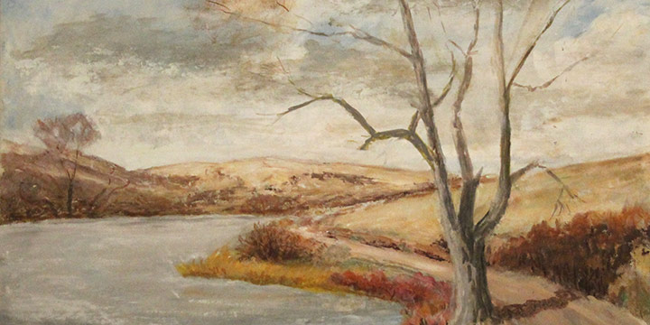 Miriam (Mim) Worlock, Untitled (river and road), oil on board, 1969