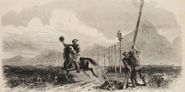 George M. Ottinger, The Overland Pony Express, wood engraving, published in Harper's Weekly, November 2, 1867