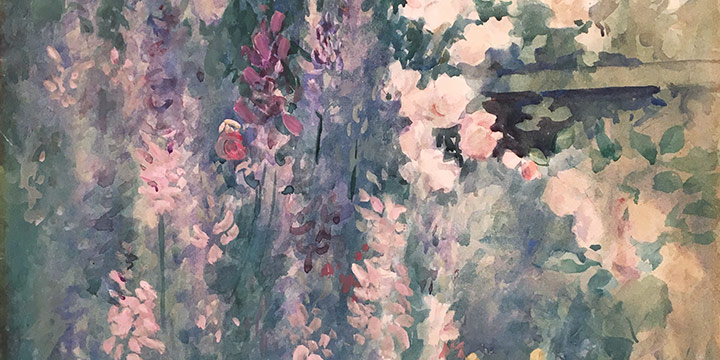 Marion Canfield Smith, Daisies, Larkspur, Roses, watercolor, n.d.