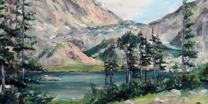 Virginia Young Moon, Two Lakes, Snowy Range, Wyoming, oil on board