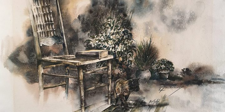 Leland Sherwood, Pressed Back Chair With Cat (Ms. Cat), watercolor