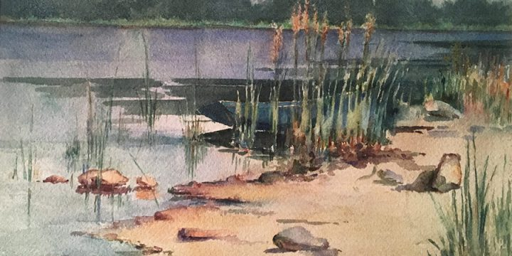 Marion Canfield Smith, Untitled (landscape with lake), watercolor, n.d.