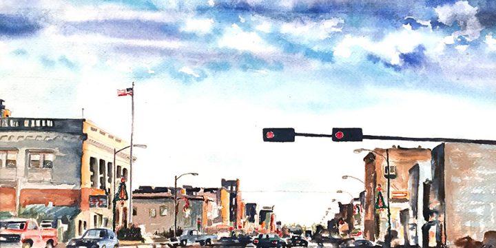 Elaine (Laney) Mills, Untitled (Central Avenue, Kearney, Nebraska), watercolor, 1982