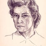Myra Biggerstaff, Self-Portrait graphite, tempera on paper, n.d.