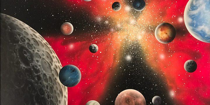 Mark Rickerson, Galactic Fire, acrylic on masonite, 1982