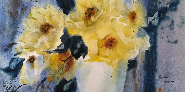 Carleen Steckelberg Williams , Golden Blooms, watercolor, 1984