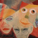 Myra Biggerstaff, The Masks We Wear, watercolor, n.d.