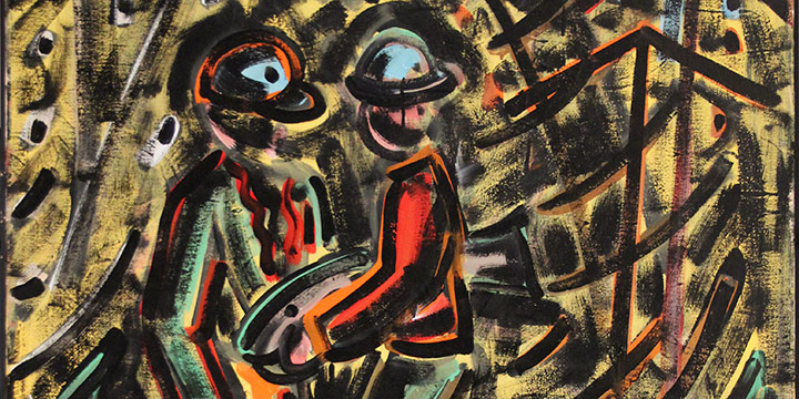 Richard Trickey, Untitled (two figures with fish), acrylic on canvas, c. 1980s
