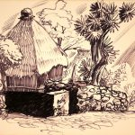 Dale Nichols, Santiago Lake Atitlan Guatemala (# 1), marker, c. 1962
