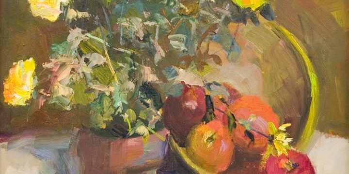Vivian Robertson Lindley, Yellow Bloom, oil on board, n.d.