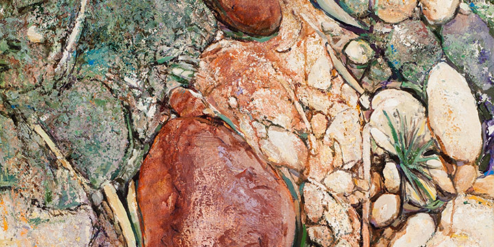 Richard Wiegmann, Green River: Dinosaur National Monument, (triptych panel a), acrylic, modeling paste, pumice on canvas , 2001