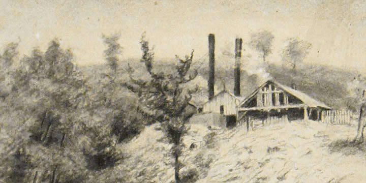 Cora Parker, Untitled (saw mill), charcoal, graphite on paper, n.d.