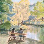 Myra Biggerstaff, In the Park (Drottningholm Palace Park), gouache on paper, 1942