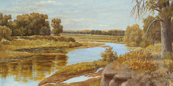 Ernest E. Stevens, Elkhorn River, oil on illustration board, n.d.