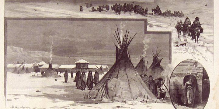 Charles S. Graham, Indians at Winter Quarters, wood engraving, published in Harper's Weekly, January 19, 1884