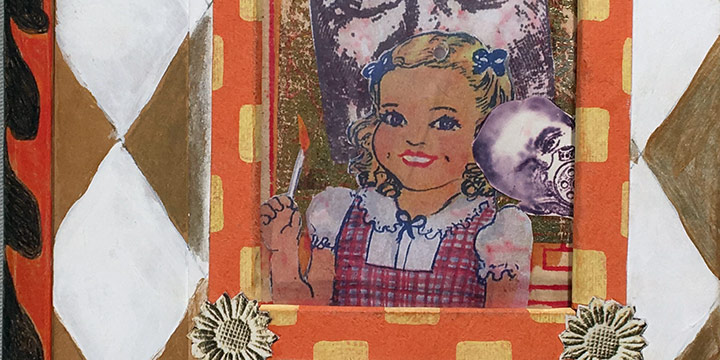 Marvel Maring, Daddies & Daughters, altered book with pop-ups, Xerox, color pencil, watercolor, matchbooks, teeth, matches, peanut, 2014