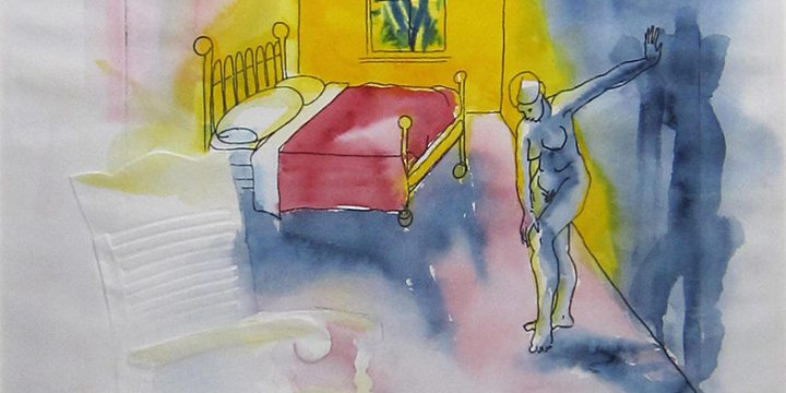 Patricia Norman, Inner Space: Antique Furniture, etching with embossed image, watercolor (artist proof), 1978
