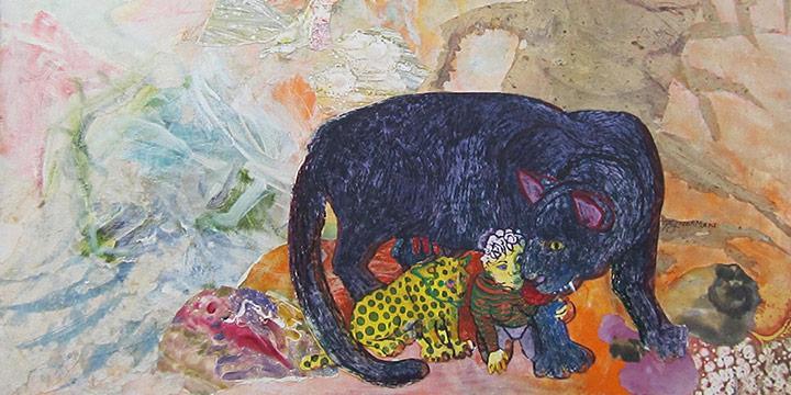 Patricia Norman, Owl, Panther, Jaguar, Self-Portrait, collage: acrylic, etching, torn paper, c. 2008