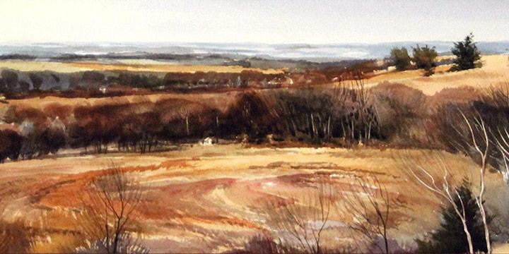 Jim R. Hamil, Vista Between Lawrence and Topeka (Kansas), watercolor, n.d.