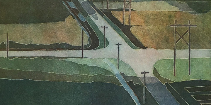 Elizabeth J. Peak, Intersection Looking South East, color etching (3/25), 2010