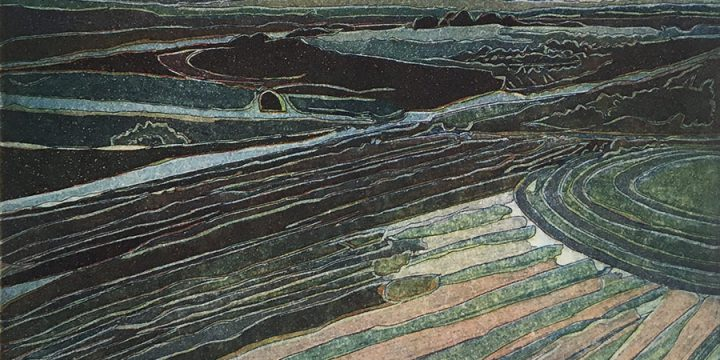 Elizabeth J. Peak, Aerial View West, color etching, three plates (2/25), 2009
