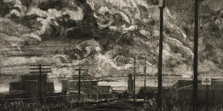Elizabeth J. Peak, North Platte Railroad Yard, color etching (12/25), 1985