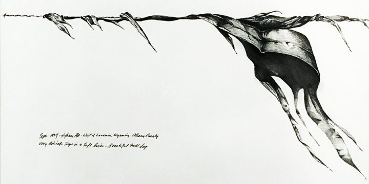 Bruce Wyman, Plastic Wind Series: Sept. 1994-Highway 130-West of Laramie, Wyoming-Albany County, Very Delicate Shape in a Soft Brizz (Breeze)-Beautiful Fall Day, graphite, 1995