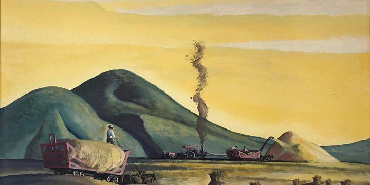 Dale Nichols, Threshing Grain, gouache, watercolor, 1946