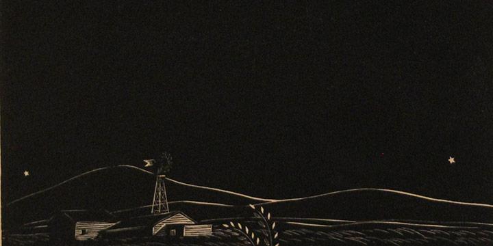 Dale Nichols, Untitled (landscape at night), woodblock print, n.d.