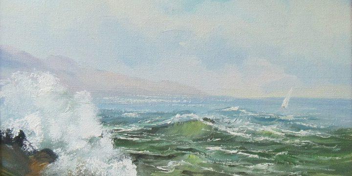 Oscar Sormani, Seascape, oil on canvas, n.d.