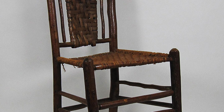 Marion Canfield Smith, Handcrafted Chair, wood, twine, c. 1910