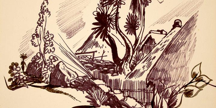 Dale Nichols, Santiago Lake Atitlan Guatemala (# 2), marker, 1962