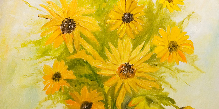 Hilda Larson, Sunflowers, oil on canvas, n.d.