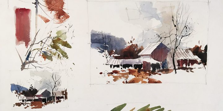 Robert Hanna, Untitled (three sketches), watercolor on board, n.d.