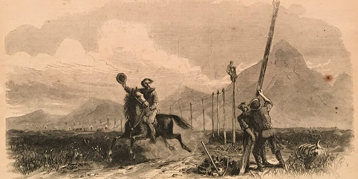 George M. Ottinger, The Overland Pony Express, wood engraving, published in Harper's Weekly, November 2, 1867, 5¼ × 9½""