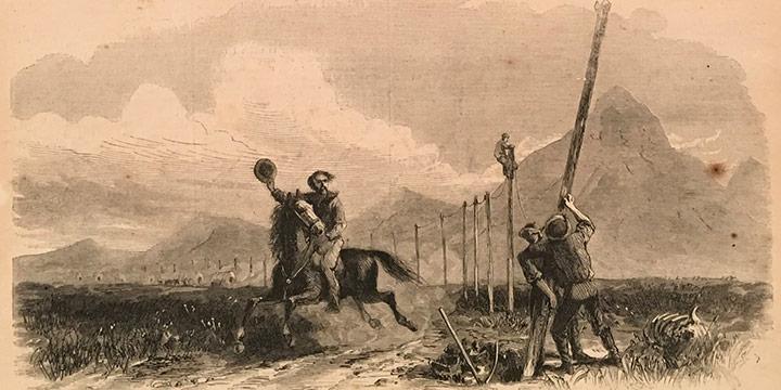 "George M. Ottinger, The Overland Pony Express, wood engraving, published in Harper's Weekly, November 2, 1867, 5¼ × 9½"""
