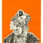 Robert Weaver, Old Woman with a Pigeon in Her Hat, lithograph (State III, 2/10, orange background), 1972