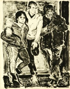 Robert Weaver, Three Figures (Robert Weaver, Ed Hogan, Samina Quraeshi at Kansas City Art Institute), lithograph (artist's proof), 1966